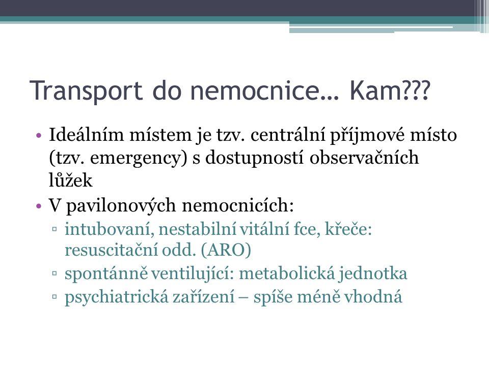Transport do nemocnice… Kam??. Ideálním místem je tzv.