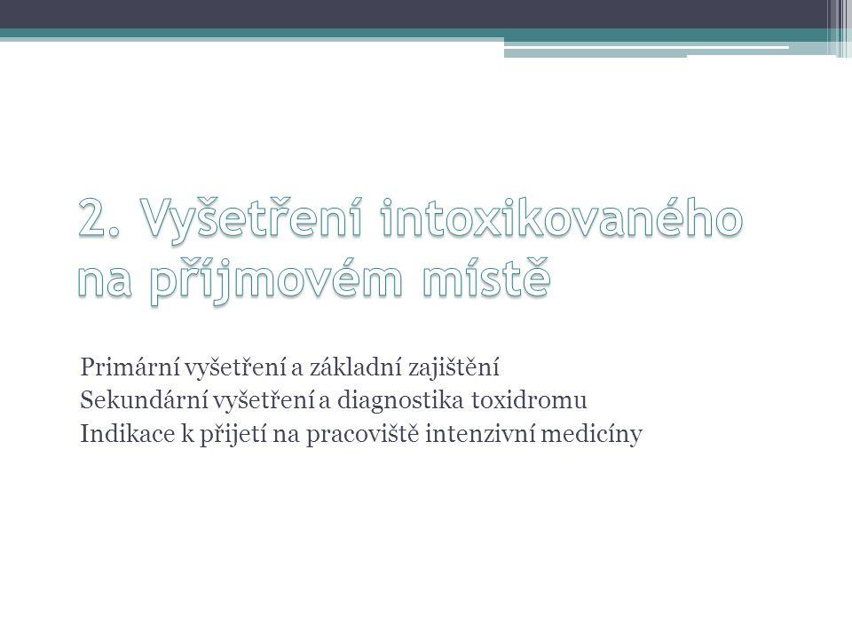 Primární vyšetření a základní zajištění Sekundární vyšetření a diagnostika toxidromu Indikace k přijetí na pracoviště intenzivní medicíny