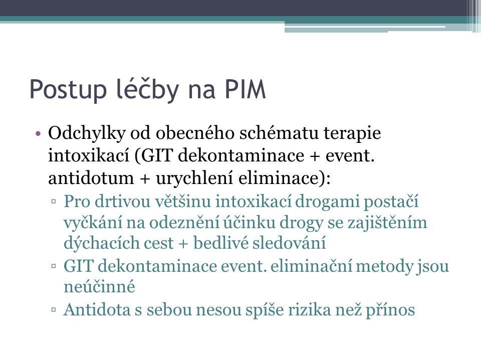 Postup léčby na PIM Odchylky od obecného schématu terapie intoxikací (GIT dekontaminace + event.