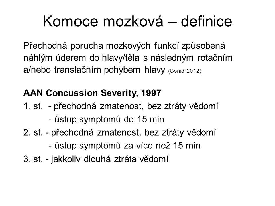 Komoce mozková – definice Přechodná porucha mozkových funkcí způsobená náhlým úderem do hlavy/těla s následným rotačním a/nebo translačním pohybem hlavy (Conidi 2012) AAN Concussion Severity, 1997 1.