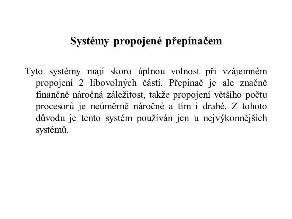 Systémy propojené přepínačem Tyto systémy mají skoro úplnou volnost při vzájemném propojení 2 libovolných částí.