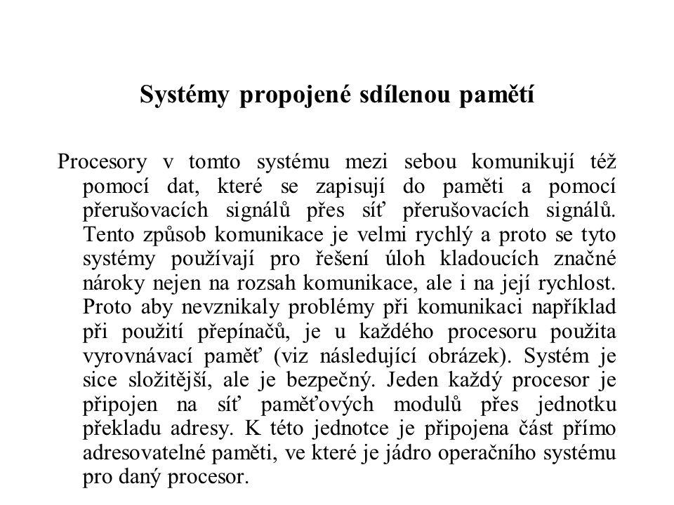 Systémy propojené sdílenou pamětí Procesory v tomto systému mezi sebou komunikují též pomocí dat, které se zapisují do paměti a pomocí přerušovacích signálů přes síť přerušovacích signálů.
