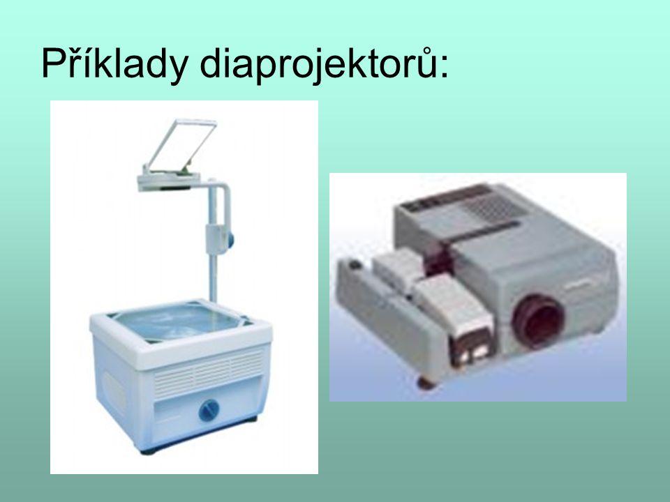 Diaprojektor – prosvěcuje objekt (fólie, diapozitiv) zdroj světla kondenzor – spojná soustava čoček promítací objektiv
