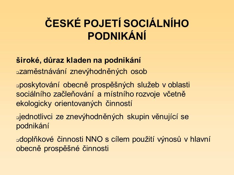České pojetí sociálního podnikání a zahraniční zkušenosti