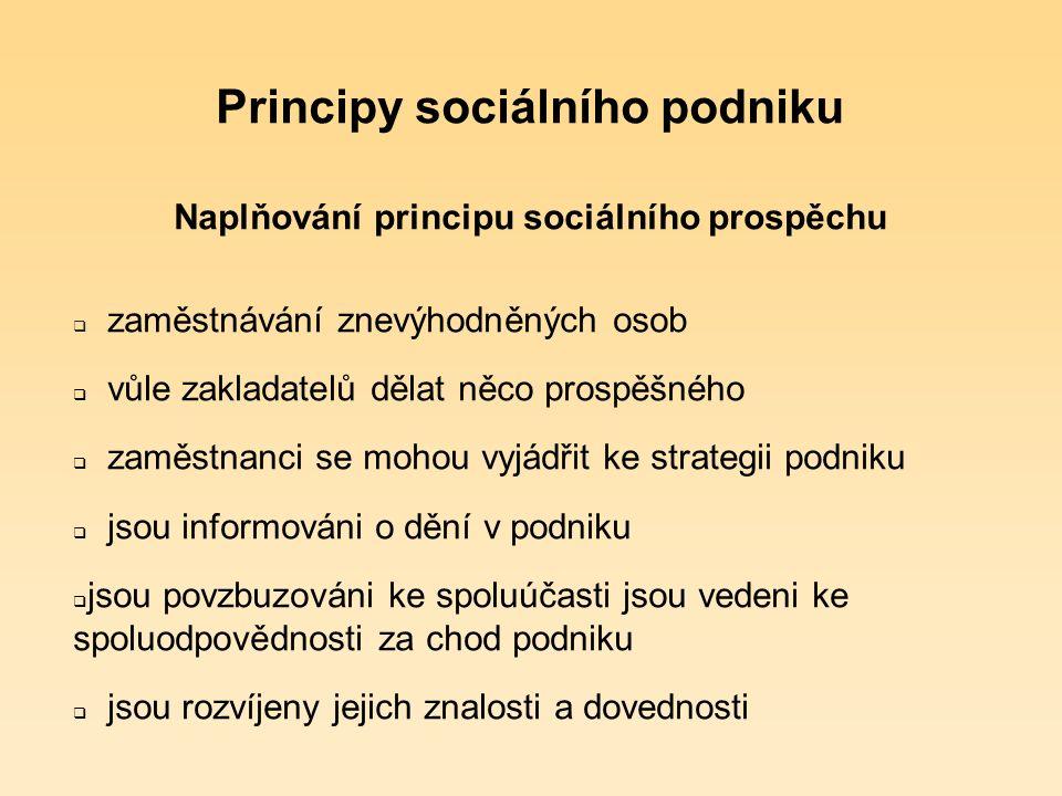 Principy sociálního podniku Sociální prospěch  provozuje aktivity prospívající společnosti či specifické skupině v obecném zájmu  založen z iniciativy občanů (přímo nebo nepřímo)  demokratické rozhodování (o osudu a rozvoji podniku, nikoli v provozně – manažerské rovině)