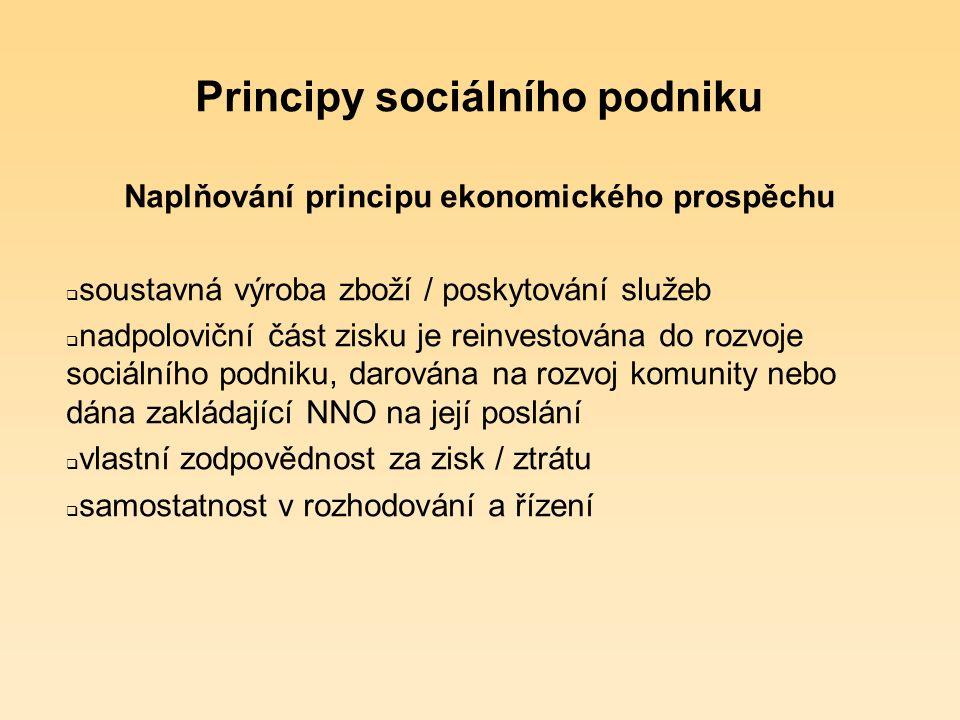 Principy sociálního podniku Ekonomický prospěch  není závislý na veřejných a soukromých institucích (nepatří sem obce a příspěvkové organizace)  vykonává soustavné a udržitelné ekonomické aktivity (= podniká), se kterými je spojen alespoň minimální podíl placené práce  nese vlastní (často zvýšená) ekonomická rizika  případný zisk je použit přednostně pro rozvoj sociálního podniku a/nebo pro naplňování veřejně prospěšných cílů (sociální mise)  může využívat vícezdrojového financování