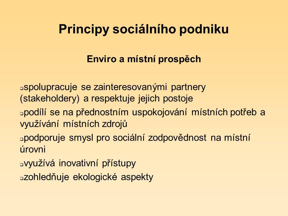 Principy sociálního podniku Naplňování principu ekonomického prospěchu  soustavná výroba zboží / poskytování služeb  nadpoloviční část zisku je reinvestována do rozvoje sociálního podniku, darována na rozvoj komunity nebo dána zakládající NNO na její poslání  vlastní zodpovědnost za zisk / ztrátu  samostatnost v rozhodování a řízení