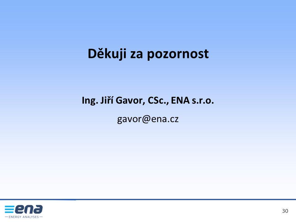Děkuji za pozornost 30 Ing. Jiří Gavor, CSc., ENA s.r.o. gavor@ena.cz