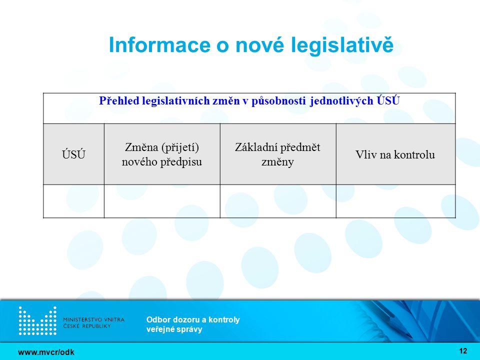 www.mvcr/odk Odbor dozoru a kontroly veřejné správy 12 Informace o nové legislativě Přehled legislativních změn v působnosti jednotlivých ÚSÚ ÚSÚ Změn
