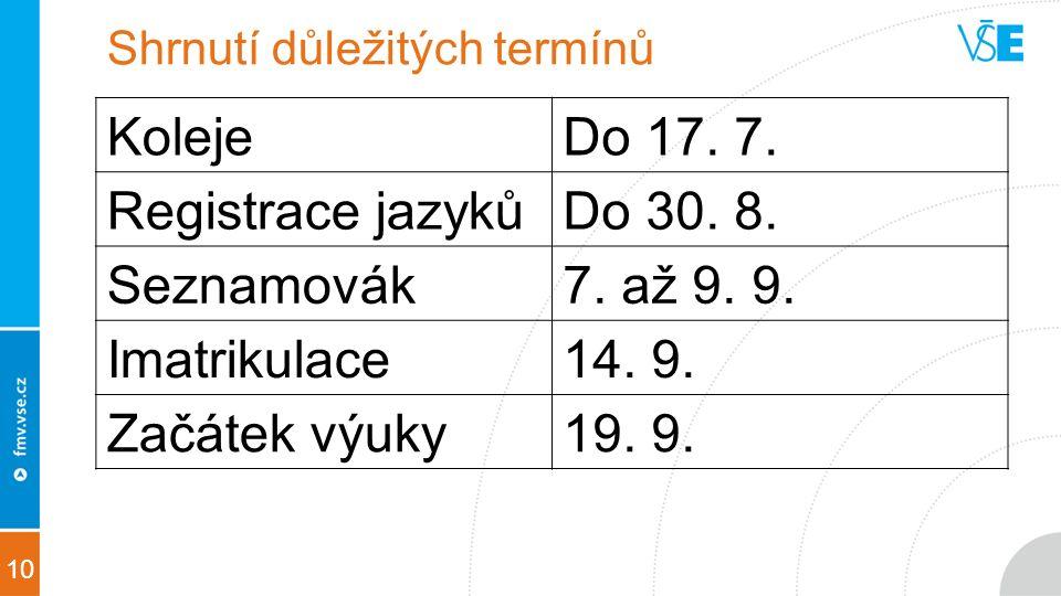 10 Shrnutí důležitých termínů KolejeDo 17. 7. Registrace jazykůDo 30.