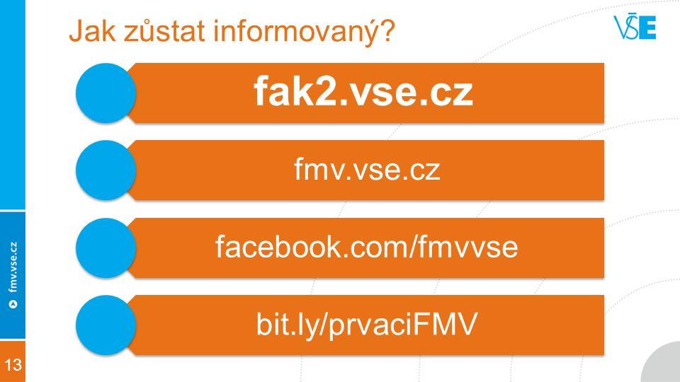 13 Jak zůstat informovaný fak2.vse.cz fmv.vse.cz facebook.com/fmvvse bit.ly/prvaciFMV