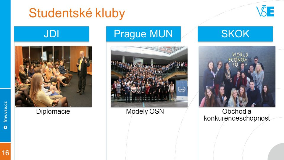 16 Studentské kluby Diplomacie JDI Modely OSN Prague MUN Obchod a konkurenceschopnost SKOK