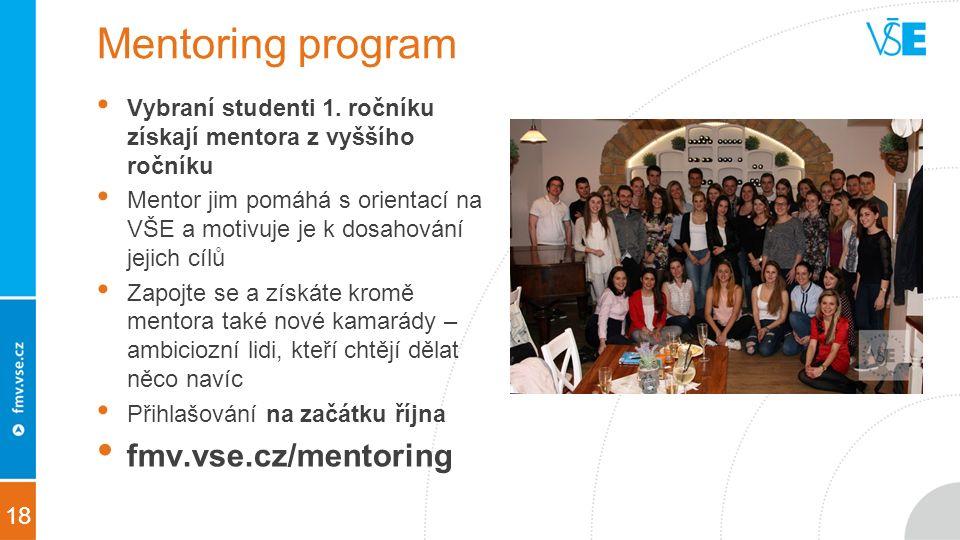 18 Mentoring program Vybraní studenti 1.