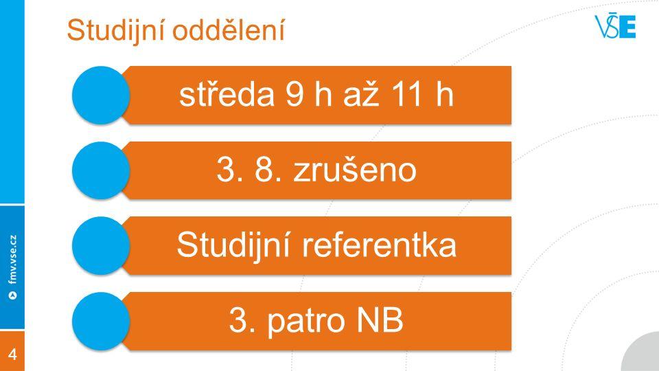 4 Studijní oddělení středa 9 h až 11 h 3. 8. zrušeno Studijní referentka 3. patro NB