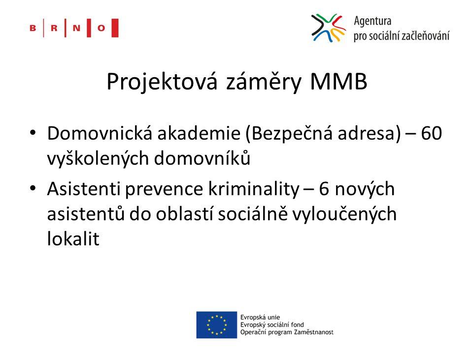 Projektová záměry MMB Domovnická akademie (Bezpečná adresa) – 60 vyškolených domovníků Asistenti prevence kriminality – 6 nových asistentů do oblastí sociálně vyloučených lokalit
