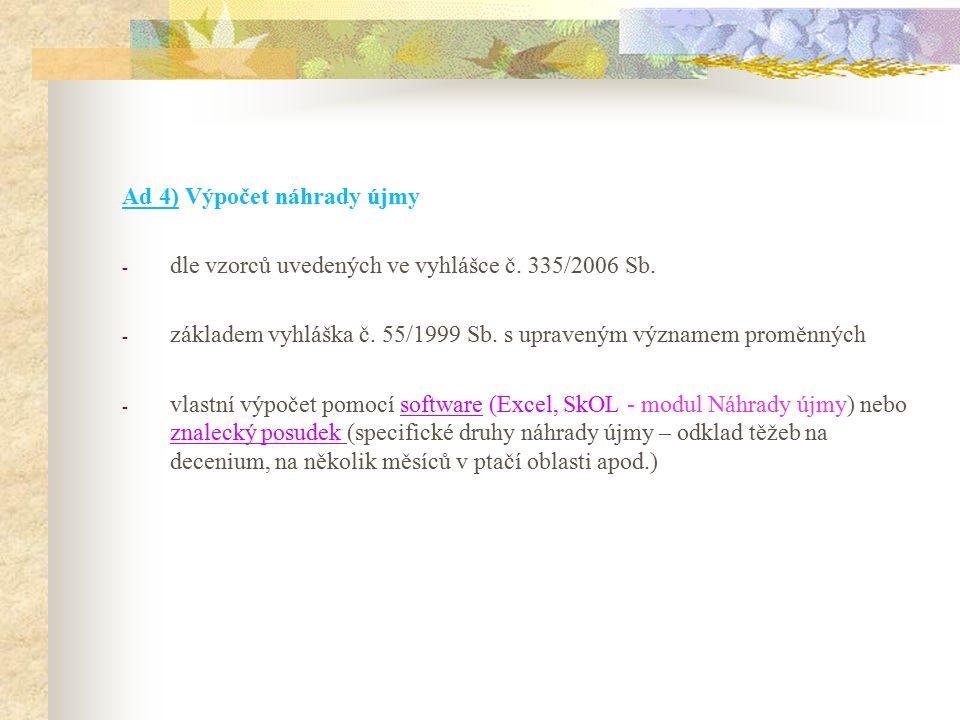 Ad 4) Výpočet náhrady újmy - dle vzorců uvedených ve vyhlášce č.