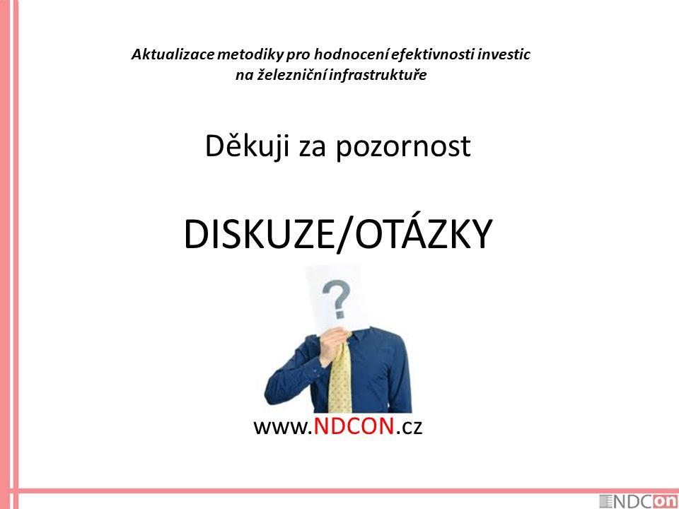 Aktualizace metodiky pro hodnocení efektivnosti investic na železniční infrastruktuře Děkuji za pozornost DISKUZE/OTÁZKY www.NDCON.cz