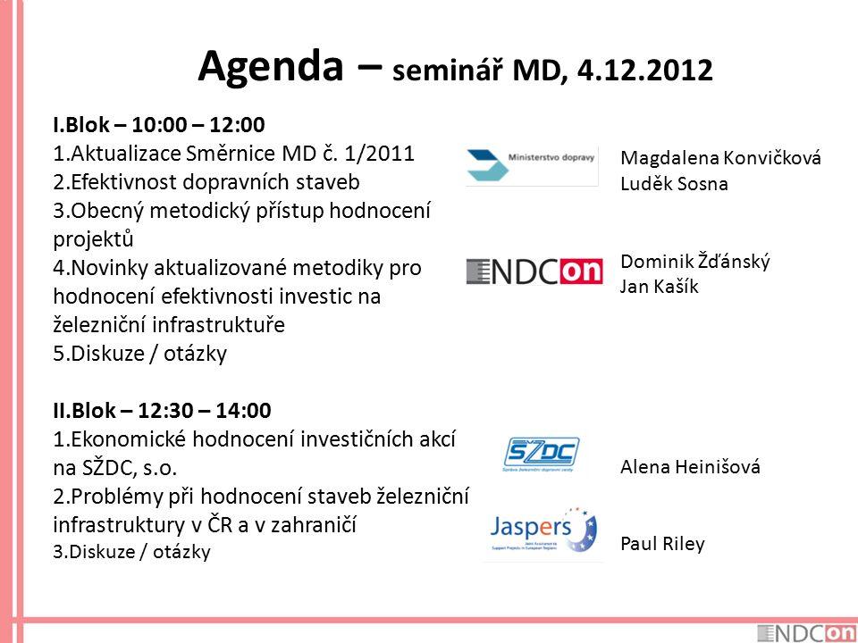Agenda – seminář MD, 4.12.2012 I.Blok – 10:00 – 12:00 1.Aktualizace Směrnice MD č. 1/2011 2.Efektivnost dopravních staveb 3.Obecný metodický přístup h