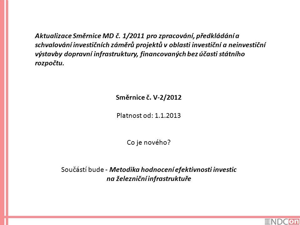 Aktualizace Směrnice MD č. 1/2011 pro zpracování, předkládání a schvalování investičních záměrů projektů v oblasti investiční a neinvestiční výstavby