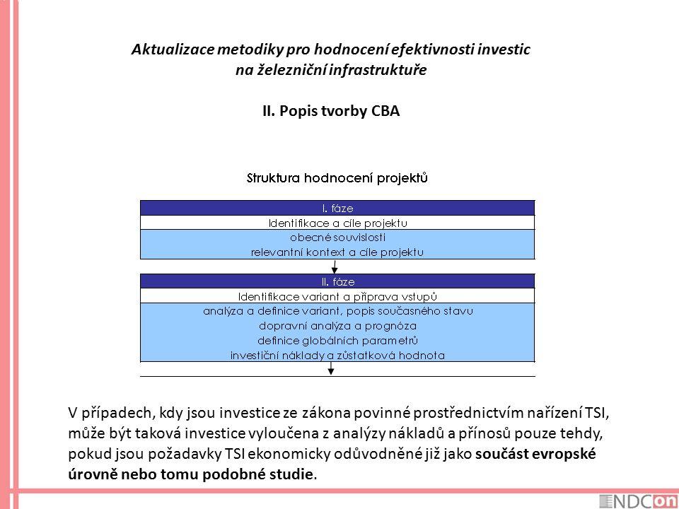 Aktualizace metodiky pro hodnocení efektivnosti investic na železniční infrastruktuře II. Popis tvorby CBA V případech, kdy jsou investice ze zákona p