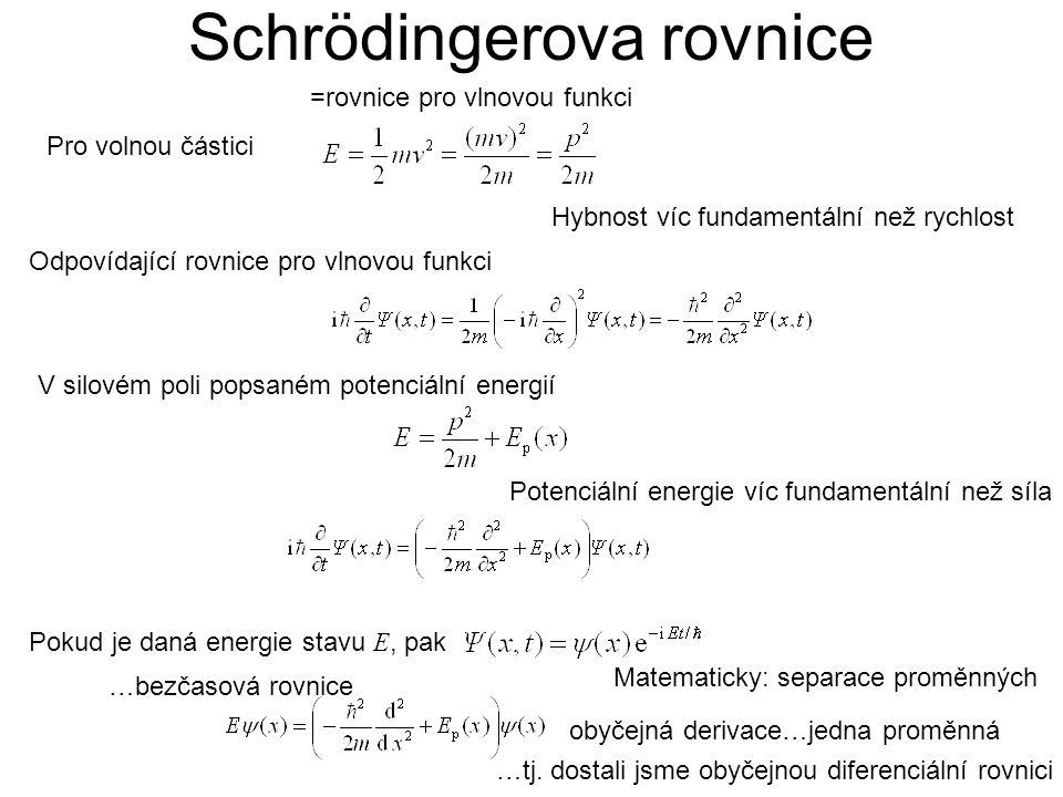 Schrödingerova rovnice Pro volnou částici Hybnost víc fundamentální než rychlost Odpovídající rovnice pro vlnovou funkci V silovém poli popsaném potenciální energií Potenciální energie víc fundamentální než síla Pokud je daná energie stavu E, pak Matematicky: separace proměnných obyčejná derivace…jedna proměnná …bezčasová rovnice =rovnice pro vlnovou funkci …tj.