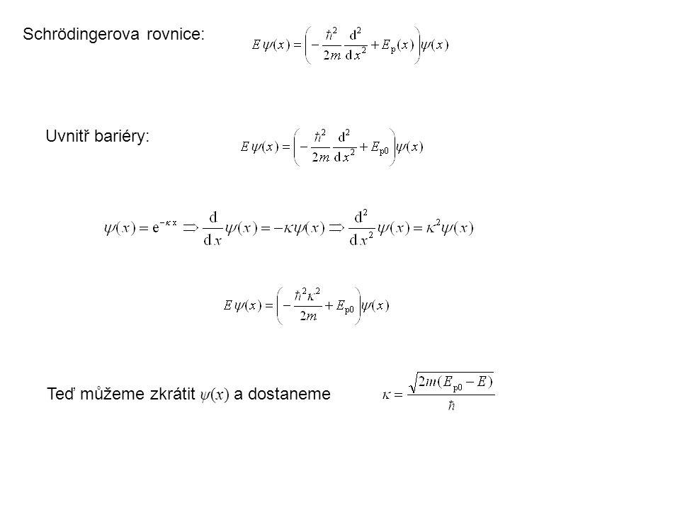 Schrödingerova rovnice: Uvnitř bariéry: Teď můžeme zkrátit ψ(x) a dostaneme