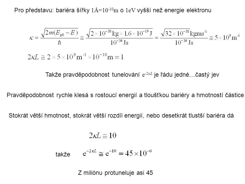 Pro představu: bariéra šířky 1Å=10 -10 m o 1eV vyšší než energie elektronu Takže pravděpodobnost tunelování e -2κL je řádu jedné…častý jev Pravděpodobnost rychle klesá s rostoucí energií a tloušťkou bariéry a hmotností částice Stokrát větší hmotnost, stokrát větší rozdíl energií, nebo desetkrát tlustší bariéra dá takže Z miliónu protuneluje asi 45