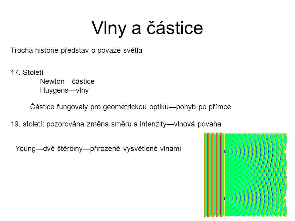 Vlny a částice Trocha historie představ o povaze světla 17. Století Newton—částice Huygens—vlny Částice fungovaly pro geometrickou optiku—pohyb po pří