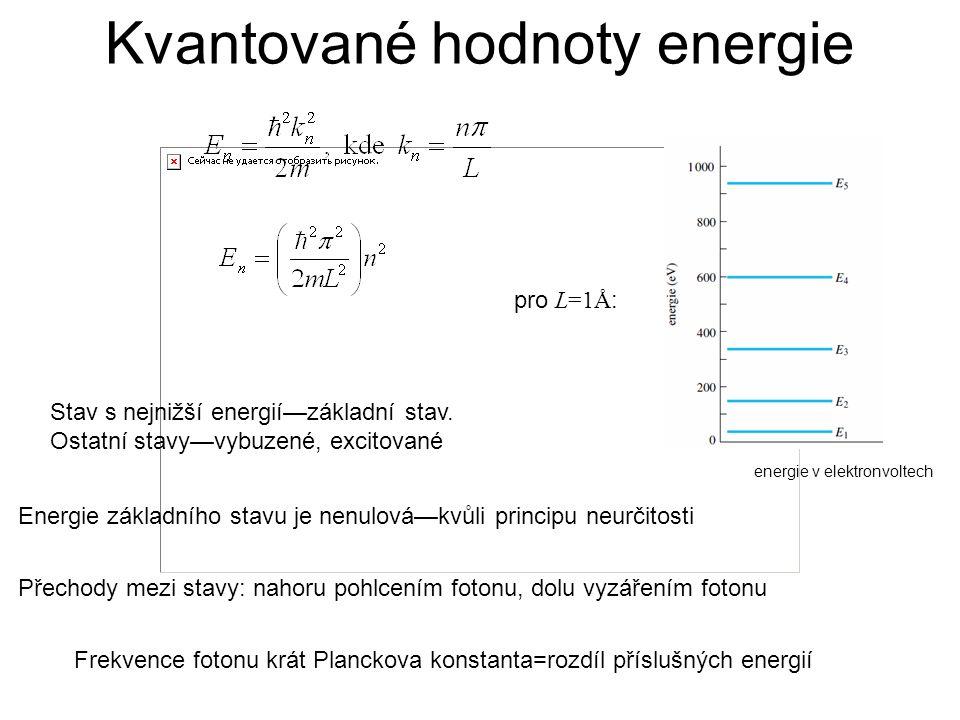 Kvantované hodnoty energie pro L=1Å : energie v elektronvoltech Stav s nejnižší energií—základní stav. Ostatní stavy—vybuzené, excitované Přechody mez