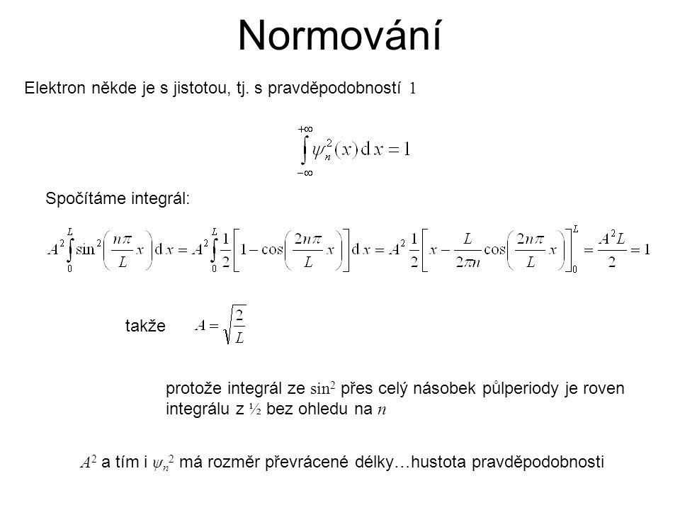 Normování Elektron někde je s jistotou, tj. s pravděpodobností 1 protože integrál ze sin 2 přes celý násobek půlperiody je roven integrálu z ½ bez ohl
