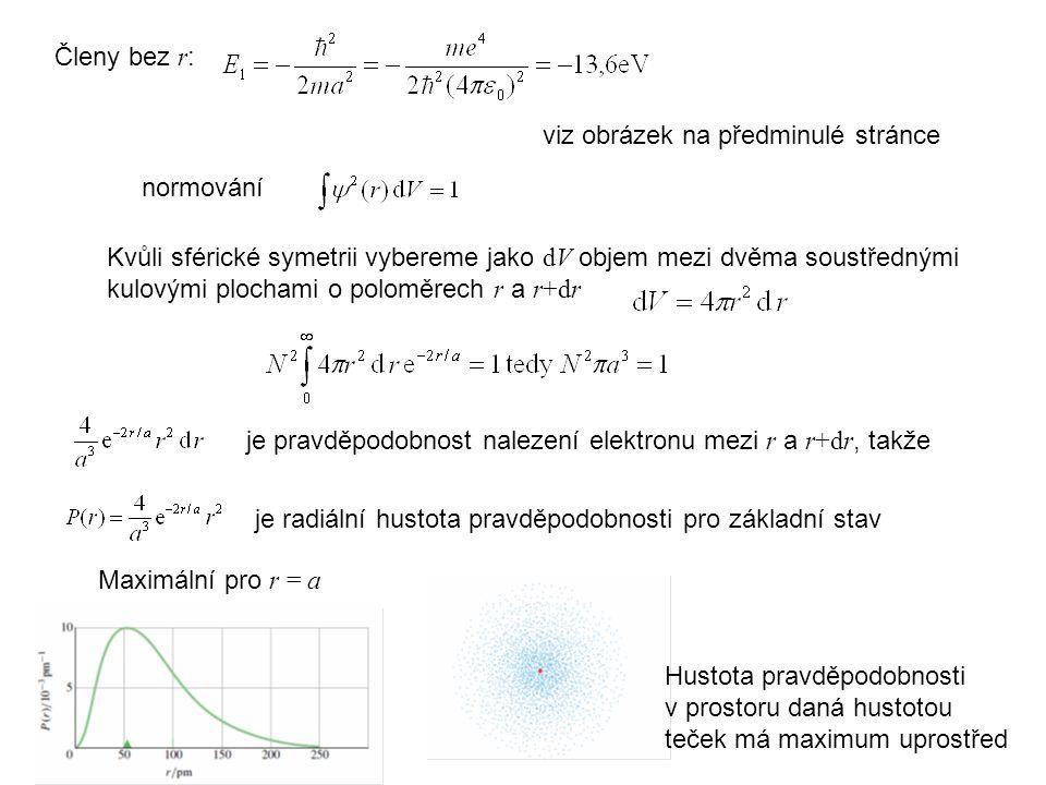 normování Kvůli sférické symetrii vybereme jako dV objem mezi dvěma soustřednými kulovými plochami o poloměrech r a r+dr je pravděpodobnost nalezení elektronu mezi r a r+dr, takže je radiální hustota pravděpodobnosti pro základní stav Hustota pravděpodobnosti v prostoru daná hustotou teček má maximum uprostřed viz obrázek na předminulé stránce Členy bez r : Maximální pro r = a
