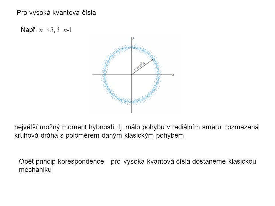 Pro vysoká kvantová čísla Např. n=45, l=n-1 největší možný moment hybnosti, tj. málo pohybu v radiálním směru: rozmazaná kruhová dráha s poloměrem dan