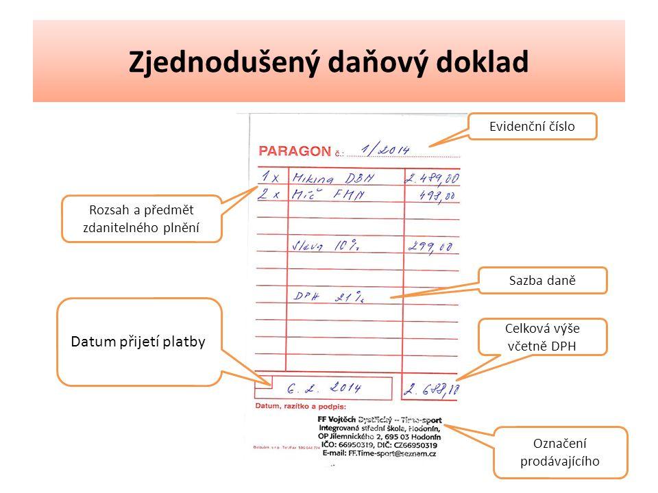Zjednodušený daňový doklad Evidenční číslo Rozsah a předmět zdanitelného plnění Sazba daně Datum přijetí platby Celková výše včetně DPH Označení prodávajícího