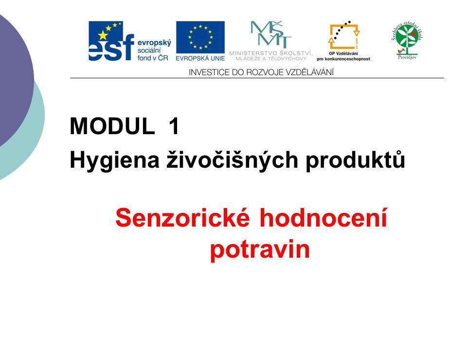 Slide 1 MODUL 1 Hygiena živočišných produktů Senzorické hodnocení potravin