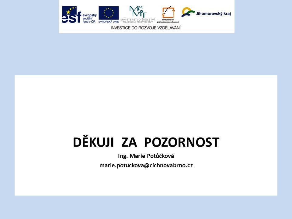 DĚKUJI ZA POZORNOST Ing. Marie Potůčková marie.potuckova@cichnovabrno.cz