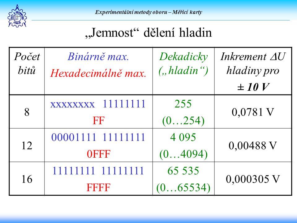 """Experimentální metody oboru – Měřicí karty """"Jemnost dělení hladin Počet bitů Binárně max."""