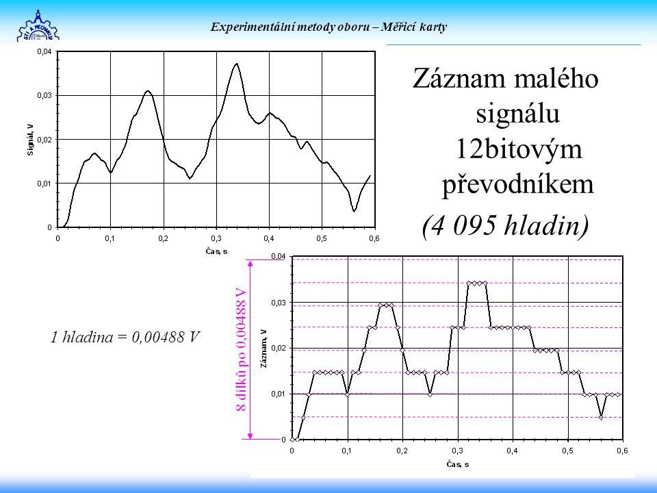 Experimentální metody oboru – Měřicí karty Záznam malého signálu 12bitovým převodníkem (4 095 hladin) 1 hladina = 0,00488 V 8 dílků po 0,00488 V
