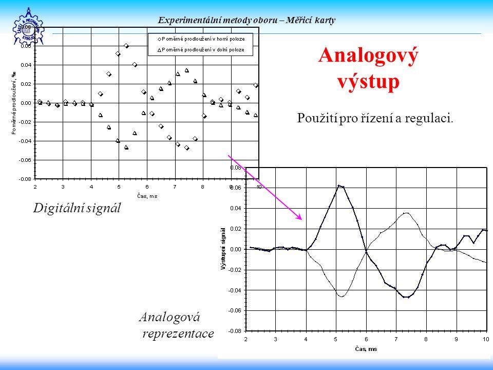 Experimentální metody oboru – Měřicí karty Analogový výstup Digitální signál Analogová reprezentace Použití pro řízení a regulaci.