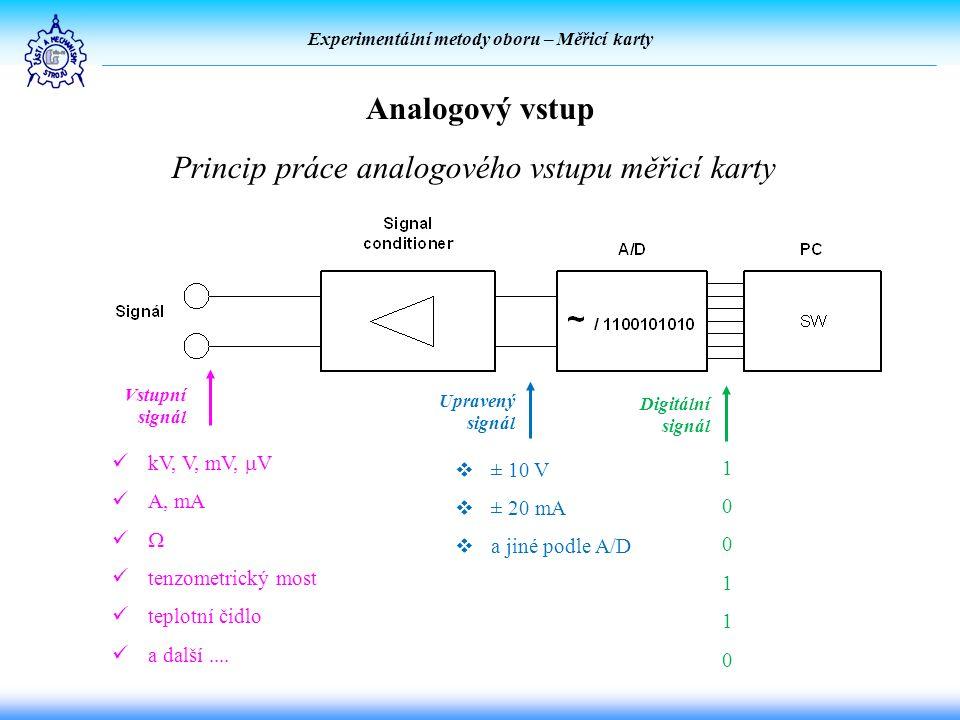 Experimentální metody oboru – Měřicí karty Analogový vstup kV, V, mV,  V A, mA  tenzometrický most teplotní čidlo a další....