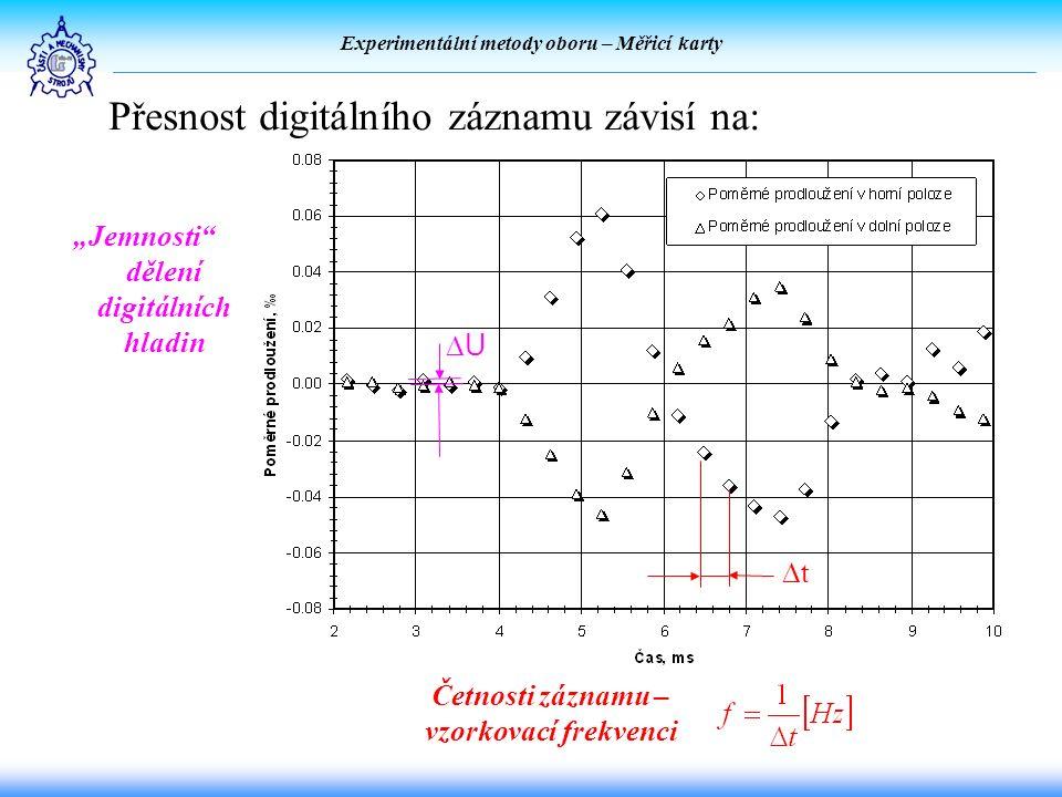 """Experimentální metody oboru – Měřicí karty Přesnost digitálního záznamu závisí na: """"Jemnosti dělení digitálních hladin Četnosti záznamu – vzorkovací frekvenci tt UU"""