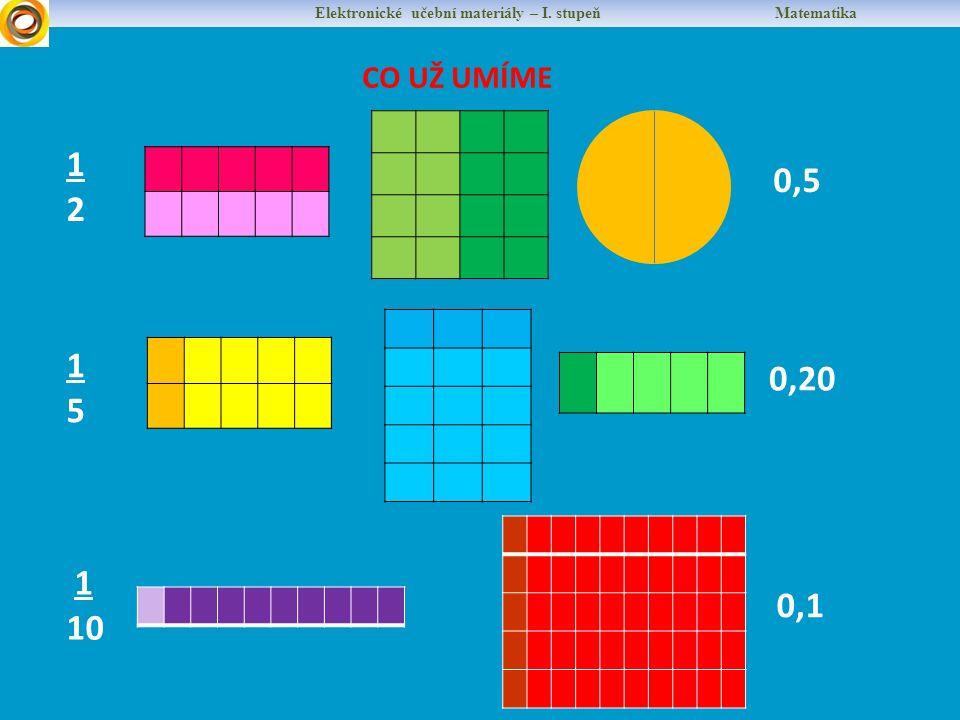 Elektronické učební materiály – I. stupeň Matematika CO UŽ UMÍME 1212 0,5 1515 0,20 1 10 0,1