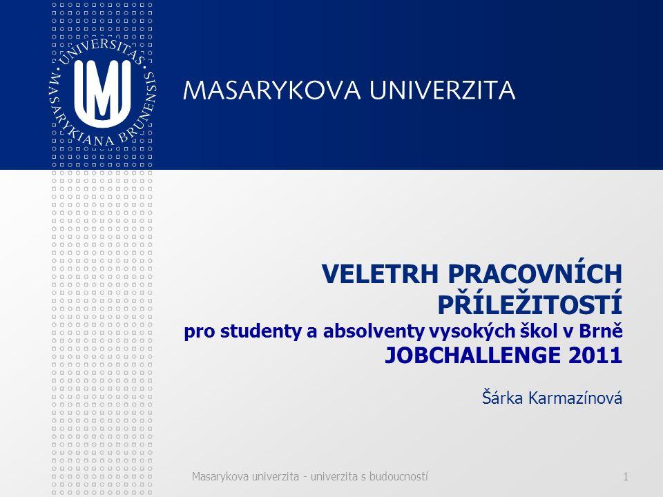 Masarykova univerzita - univerzita s budoucností2 Z ORGANIZACE VELETRHU JOBCHALLENGE 2011 Datum konání: 9.