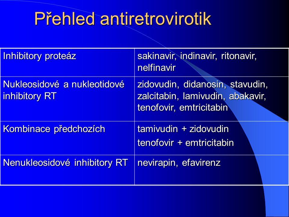 Přehled antiretrovirotik Inhibitory proteáz sakinavir, indinavir, ritonavir, nelfinavir Nukleosidové a nukleotidové inhibitory RT zidovudin, didanosin, stavudin, zalcitabin, lamivudin, abakavir, tenofovir, emtricitabin Kombinace předchozích tamivudin + zidovudin tenofovir + emtricitabin Nenukleosidové inhibitory RT nevirapin, efavirenz