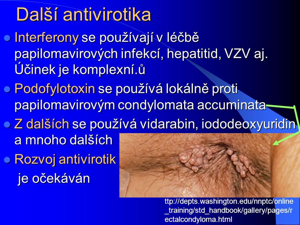 Další antivirotika Interferony se používají v léčbě papilomavirových infekcí, hepatitid, VZV aj.