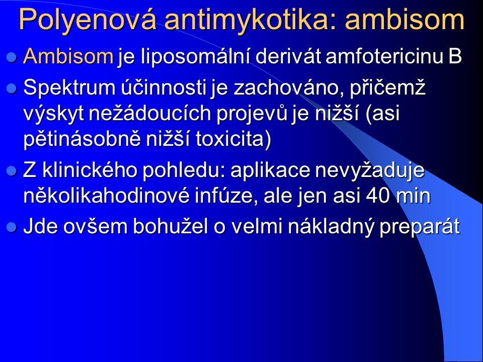Polyenová antimykotika: ambisom Ambisom je liposomální derivát amfotericinu B Ambisom je liposomální derivát amfotericinu B Spektrum účinnosti je zachováno, přičemž výskyt nežádoucích projevů je nižší (asi pětinásobně nižší toxicita) Spektrum účinnosti je zachováno, přičemž výskyt nežádoucích projevů je nižší (asi pětinásobně nižší toxicita) Z klinického pohledu: aplikace nevyžaduje několikahodinové infúze, ale jen asi 40 min Z klinického pohledu: aplikace nevyžaduje několikahodinové infúze, ale jen asi 40 min Jde ovšem bohužel o velmi nákladný preparát Jde ovšem bohužel o velmi nákladný preparát