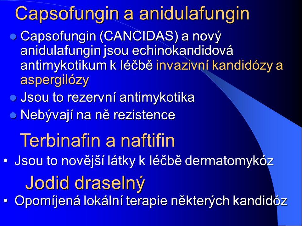 Capsofungin a anidulafungin Capsofungin (CANCIDAS) a nový anidulafungin jsou echinokandidová antimykotikum k.léčbě invazivní kandidózy a aspergilózy Capsofungin (CANCIDAS) a nový anidulafungin jsou echinokandidová antimykotikum k.léčbě invazivní kandidózy a aspergilózy Jsou to rezervní antimykotika Jsou to rezervní antimykotika Nebývají na ně rezistence Nebývají na ně rezistence Jodid draselný Opomíjená lokální terapie některých kandidózOpomíjená lokální terapie některých kandidóz Terbinafin a naftifin Jsou to novější látky k léčbě dermatomykózJsou to novější látky k léčbě dermatomykóz