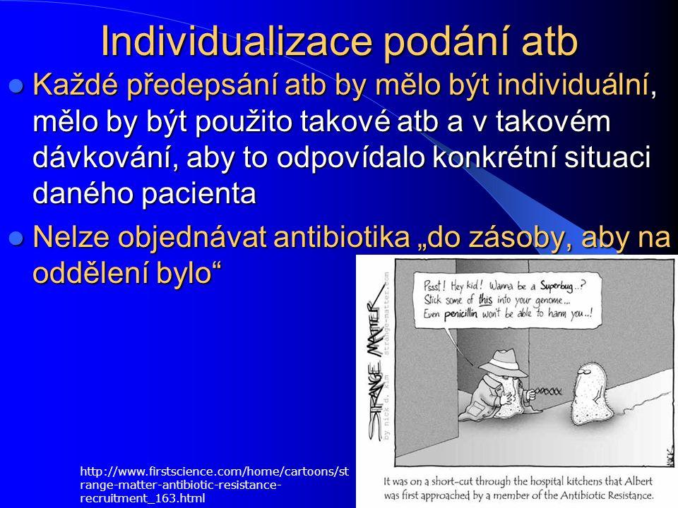"""Individualizace podání atb Každé předepsání atb by mělo být individuální, mělo by být použito takové atb a v takovém dávkování, aby to odpovídalo konkrétní situaci daného pacienta Každé předepsání atb by mělo být individuální, mělo by být použito takové atb a v takovém dávkování, aby to odpovídalo konkrétní situaci daného pacienta Nelze objednávat antibiotika """"do zásoby, aby na oddělení bylo Nelze objednávat antibiotika """"do zásoby, aby na oddělení bylo http://www.firstscience.com/home/cartoons/st range-matter-antibiotic-resistance- recruitment_163.html"""