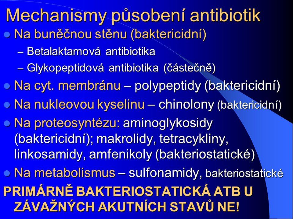 Mechanismy působení antibiotik Na buněčnou stěnu (baktericidní) Na buněčnou stěnu (baktericidní) – Betalaktamová antibiotika – Glykopeptidová antibiotika (částečně) Na cyt.