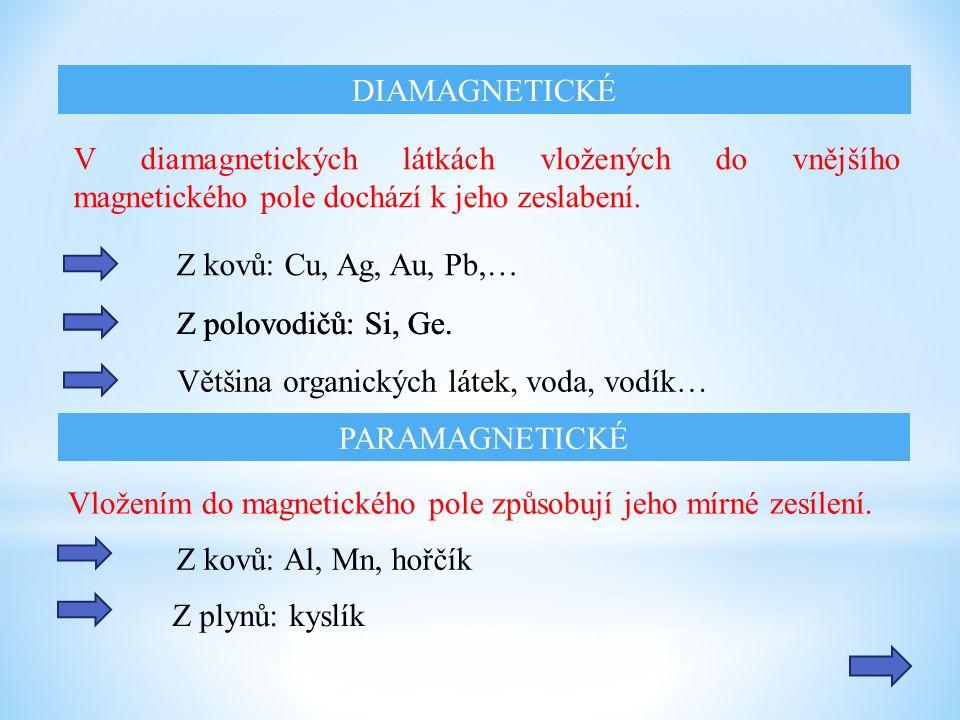 V diamagnetických látkách vložených do vnějšího magnetického pole dochází k jeho zeslabení.