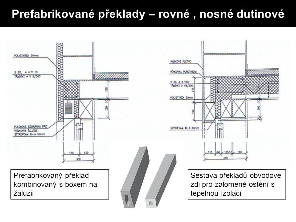 Prefabrikované překlady – rovné, nosné dutinové Prefabrikovaný překlad kombinovaný s boxem na žaluzii Sestava překladů obvodové zdi pro zalomené ostění s tepelnou izolací